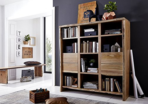 Main Möbel boekenkast brengt orde in de chaos 142 cm 'Dakar' acia massief gelakt