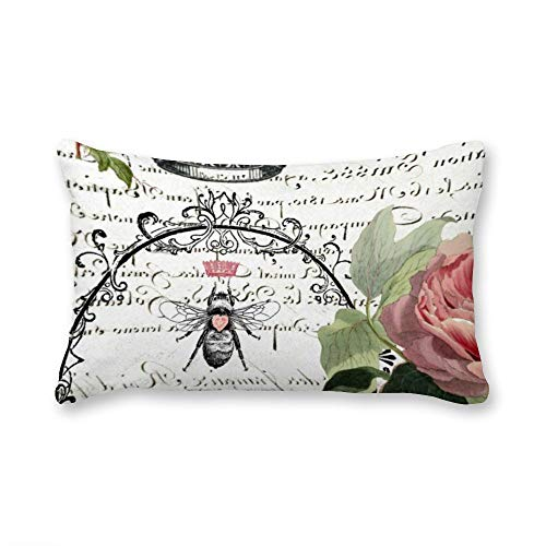 VinMea Decorative Lumbar Pillow Covers Cotton Queen Bee Throw Pillow Covers 12x20 Inch for Sofa