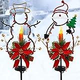 FORUP Solar Christmas Yard Decorations, Outdoor LED Solar Powered Candle, Xmas Pathway Lights, Metal Solar Garden Stake Lights, Snowman Santa Christmas Lawn Yard Ornament, Set of 2
