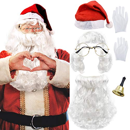YOGFIT 6 Pieces Santa Claus Beard and Wig Set with Glasses, Xmas Hat, White Gloves and Hand Bell