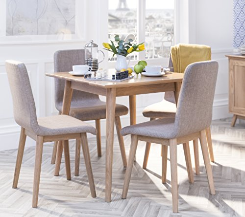Edvard Olsen OAK square table dining set with light brown upholstered chairs. Choice of 2 or 4 chairs. Stunning scandi dining set (table+4 chairs)