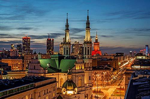 5D DIY pełny okrągły zestaw do malowania diamentami, sceneria miasta Warszawa, ścieg krzyżowy dekoracja domu bez ramy 40 x 50 cm