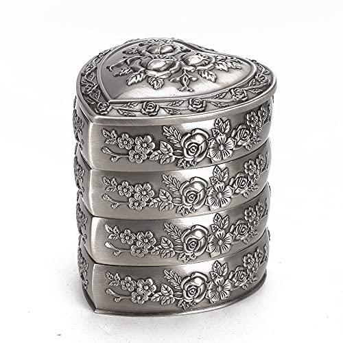 Joyero vintage, decoración de rosas en forma de corazón, anillo, pulsera, joyero, caja de almacenamiento para el hogar(Four)