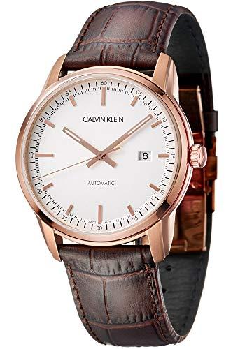 Calvin Klein Herren Analog Automatik Uhr mit Leder Armband K5S346G6