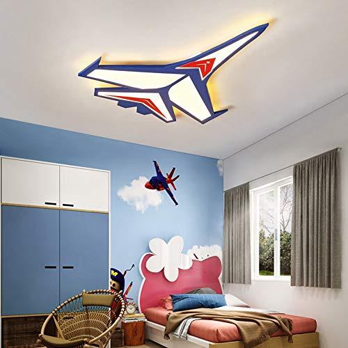 Flush montagelamp eenvoudige moderne kinderkamer LED patch acrylkleur hoge transmissie Iron Cartoon Boy plafondverlichting vliegtuig lichten 63cm-26W / 80cm-37w (kleur: Trimming Dimming-80cm-37w)