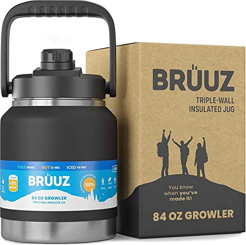 BRUUZ Vacuum Insulated Growler Jug Stainless Steel 84 oz Bottle Thermos Triple Walled Ergonomic product image