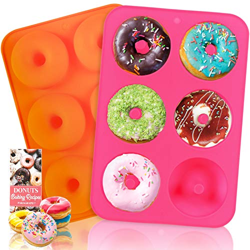 2 HEHALI Silicone Donut Pans for 6 Full-Size Donuts, Bagels and More Now $5.99