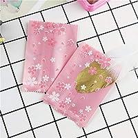 ラッピング袋 ベーカリーギフトビスケットキャンディマフィンパッキング7x10cmのための100pcsピンクの桜クッキーバッグ HYBJP