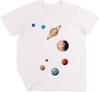 Solare Sistema Bambini Ragazzi Ragazze Unisex Maglietta Bianca