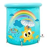 Lwieui Badewanne bewegliche Erwachsene Folding Badewanne Printed Baby-Pool Kinder-Badebottich-Haushalt-bewegliche Wanne, Eindickung mit Thermoschaum Badewannen (Farbe : Blau, Size : 70x80cm)