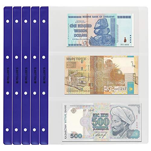 PELLER'S Banknotenhüllen-Briefehüllen für Sammelalbum, 3 Fächer 219mm x 100mm auf jeder Sammelhüllen. 10er Pack, Plastik, Extra Transparent, Modell XL: 3 Taschen 219 x 100 mm
