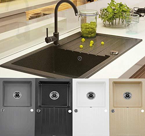 Granitspüle Küchenspüle Granit Siphon Einbauspüle Spülbecken Spüle Granit 76x45 (Weiss - ZQZa113)