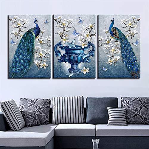 WSNDGWS HD inkjet dier pauw triple decoratieve schilderij kunstenaar residentie decoratieve schilderij zonder fotolijst 30x50cmx3 G1