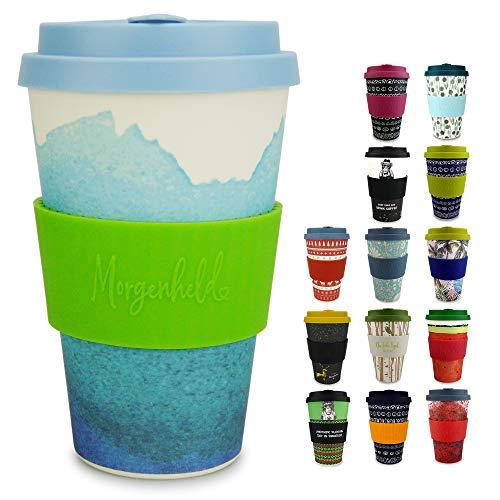 Morgenheld il tuo bicchiere di bambù alla moda   Coffee-to-Go bicchiere   bicchiere con coperchio in silicone e fascetta dal design futuristico da 400ml - Holi Blue