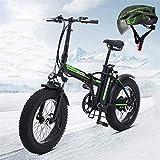 Bicicletas Eléctricas, Motor de montaña eléctrica plegable 500W Motor 48V / 15AH Batería de litio extraíble 204.0 pulgadas Nieve Niela Profesional 21 veloz Off-road Mountain Bike, Negro ,Bicicleta