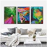 Lienzo de Arte 60x80cm 3 Piezas SIN Marco David Hockney Paisaje Cartel Colorido Llegada de Primavera Arte Lienzo Pintura Cuadro de Pared para Sala de Estar Decoración del hogar