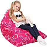5 STARS UNITED Stuffed Animal Storage Bean Bag - Cover Only - Large Triangle Beanbag Chair for Kids - 150+ Plush Toys Holder - Floor Pillows Organizer for Girls - 100% Cotton Canvas - Little Princess