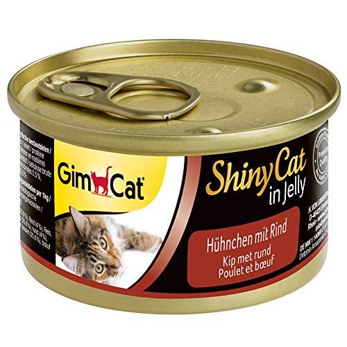 GimCat ShinyCat in Jelly Poulet au bœuf – Nourriture Humide avec Viande et Taurine pour Chat – 24 boîtes (24 x 70 g)