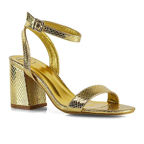 Womens Ankle Strap Heeled Sandals Ladies Gold Snake Metallic Strappy Low Mid Block Heel Party Shoes 8 B(M) US