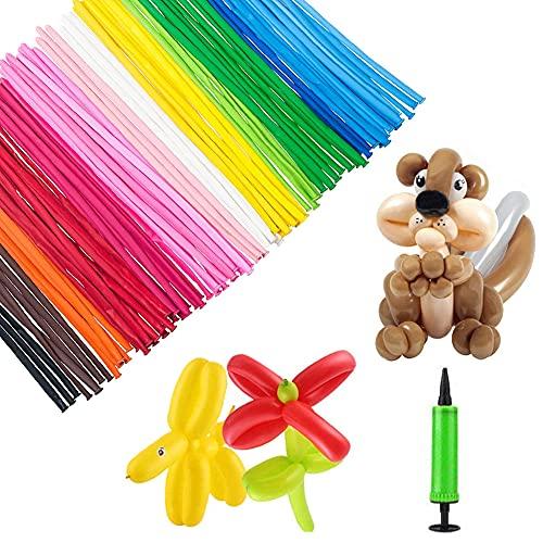 HUYIWEI 100 Stück Modellierballons,Langer Ballons mit Luftpumpe,Tierballons,Lange Bunte Ballons,Bunte Ballons zum Aufblasen, für Kindergeburtstag, Hochzeit, Party oder zur Deko