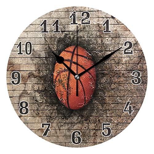 Lewiuzr Reloj de Pared, Pelota Deportiva, Baloncesto, Pared de ladrillo, silencioso, Reloj Redondo sin tictac para el hogar, Sala de Estar, Cocina, Oficina, decoración Escolar