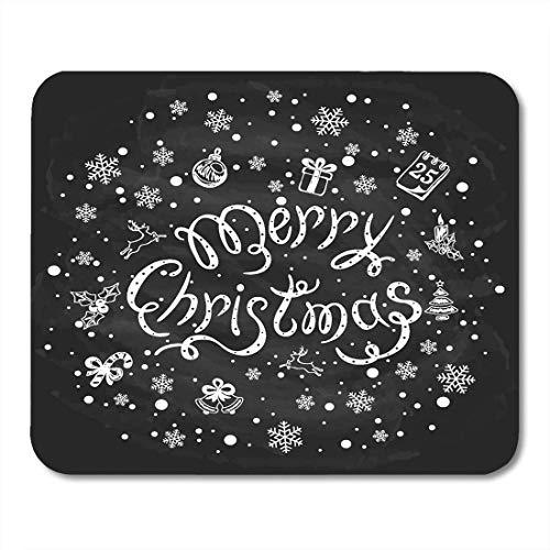 Mousepads Für Computer,Spiel Mauspad,Büro Mausmatte,Matte Mit Genähten Kanten,Mauspads Frohe Weihnachten Schneeflocken Und Auf Schwarzer Tafel Feiertagsbeschriftung Geschrieben In Weißer Kreide-Maus