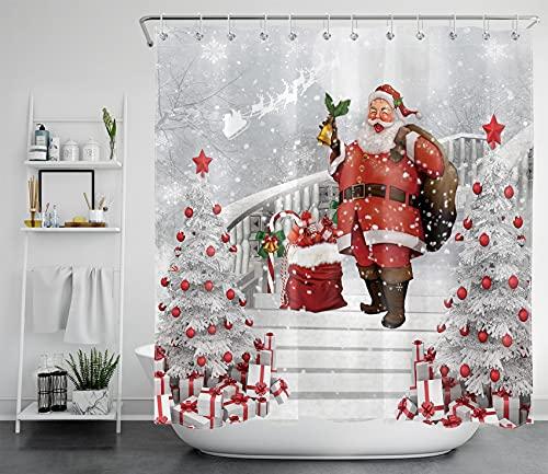 LB Weihnachtsmann Duschvorhang 240x175cm Weißer Weihnachtsbaum mit roter Kugel Antischimmel Wasserdicht Badezimmer Vorhänge, Winterschnee Extra Breit Polyester Stoff Bad Vorhang mit Haken