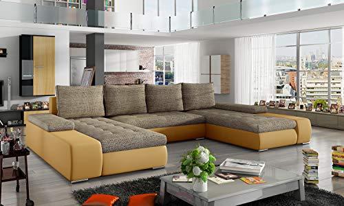 Ecksofa Verso mit Schlaffunktion Bettkasten U-Form Couch Sofa Wohnlandschaft Polsterbett 23 (Berlin03+Soft16)