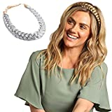 Madison Braids Womens Braided Headband Hair Braid Natural Looking Synthetic Hair Piece Extension - Lulu Two Strand - Silver Grey