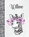 Willow: Personalized Zebra Sketchbook with Name with 150 8.5x11 - Best Zebra Lovers Gift for Girls with Crisp White Pages to Doodle, Draw, Sketch and Create