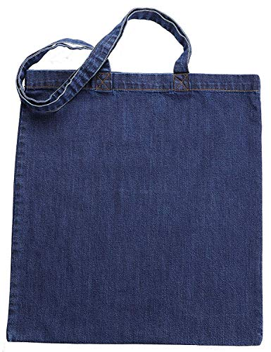Green Atmos 12 pack 11 oz heavy duty Indigo color Pre-washed Denim reusable grocery tote bag 14x15 inch with 27 inch long handle super strong great choice for promotion branding