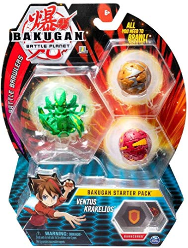 Bakugan Starter Pack 3-Pack, Ventus Krakelios, Collectible Transforming Creatures, for Ages 6 and Up