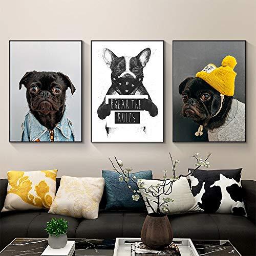 ganlanshu Lustiger Tierdruck-Haustierhund der Wandkunstmalerei Leinwand für Wohnzimmerdekoration,Rahmenlose Malerei-60X90cmx3