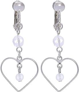 GrandUAE Women's Alloy Earring - Heart Shaped, Silver