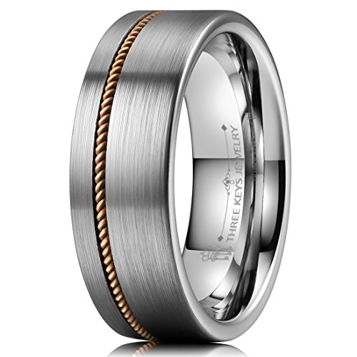 THREE KEYS JEWELRY Men 8mm Silver Guitar String Inlay Wedding Bands Tungsten Viking Carbide Ring with Jewels Brushed Flat Infinity Unique for Him Size 8.5