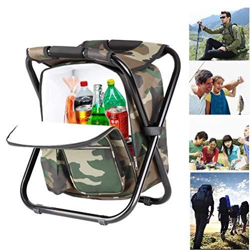 Wing Silla de Mochila de Pesca Plegable Asiento con Refrigerador Bolsa de Picnic, Acampa Taburete Mochila para Pesca Camping Viaje Picnic Excursiones