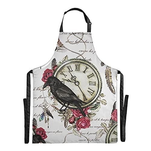 ALALAL Delantal de cocina de chef con plumas de reloj Vintage y rosa roja de cuervo negro, delantal de cocina ajustable de 88x68 cm, delantal de camarera con gotas de agua para hombres y mujeres