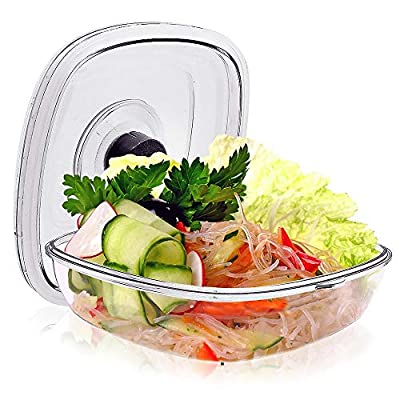 NutriChef Air Vacuum Seal Food Container - 1 Liter Capacity Kitchen Reusable Airtight Food Saver Sealer Storage Box Canister Meal Prep, Lunch, Bread, Cereal, Keeps Food Fresh Tasty - PKVSCN1L