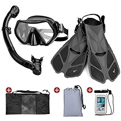 Odoland Snorkel Set 6-in-1 Snorkeling Packages, Diving Mask with Splash Guard Snorkel and Adjustable Swim Fins and Lightweight Backpack and Waterproof Case