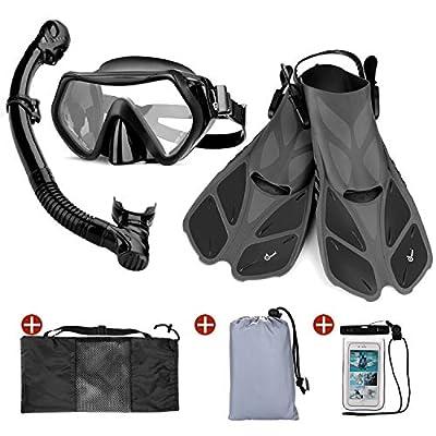 Odoland Snorkel Set 6-in-1 Snorkeling Packages with Diving Mask, Adjustable Swim Fins, Mesh Bag, Waterproof Case and Beach Blanket, Anti-Fog Anti-Leak Snorkeling Gear for Men Women Adult, Black M