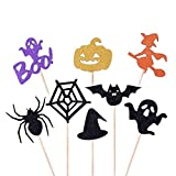 YOUYIKE Halloween Cupcake Topper,16 PCS Birthday Cake Topper,Cake Decorations,Bat Witch Ghost Star, Baby Shower Food Picks Decor,Cake Toppers for Halloween Party Birthday