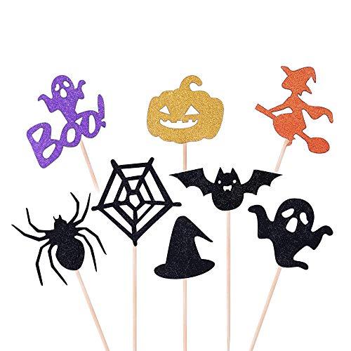 YOUYIKE Halloween Cupcake Topper,16 Stück Kuchendeckel Topper,Kuchen Dekoration Supplies für Halloween Themed Party,Kids Birthday Party und Ghost Day Party.Schaffen Sie Eine Atmosphäre (H-16)