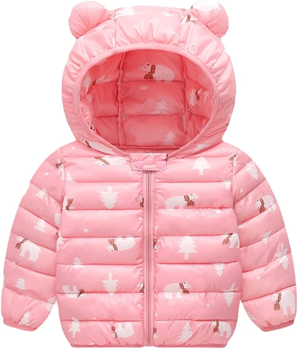 NORSSAM Toddler Winter Snow Coats with Hoods Light Puffer Jacket Warm Winter Outerwear for Girls 1-5 Years