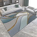 alfombra habitacion juvenil decoracion hogar salon Alfombra gris azul decoración de sala de estar rectangular Antideslizante resistente a las manchas dormitorio juvenil 200X280CM 6ft 6.7'X9ft 2.2'