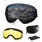 Ski Goggles,Anti-Fog UV Protection Winter Snow Sports Snowboard with Interchangeable Spherical Dual...