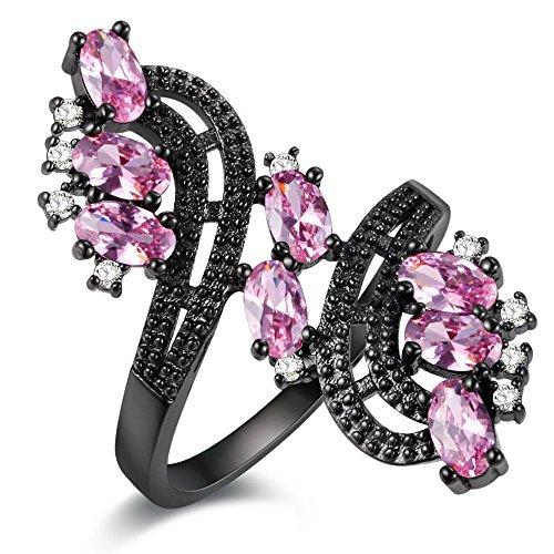 Uloveido Rosa Zirkonia Cocktail Ring Schwarz mit Weiß CZ Diamant für Damen Mädchen Größe 54 (17.2) J656