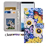 Galaxy Note 8 Wallet Case,Galaxy Note 8 Case, MagicSky Premium PU Leather Flip Folio Case Cover with Wrist Strap, Card Holder, Cash Pocket, Kickstand for Samsung Galaxy Note 8(Butterfly Over Flowers)