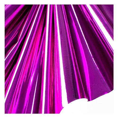 Tela de Cuero Con Láser Holográfico, Tela de Cuero de Pu Brillante, para Bolsos, Zapatos, Costura, Patchwork, Bricolaje, Arco, Aplique Artesanal, 138 Cm de Ancho - Púrpura Brillante(Size:1.38x10m)