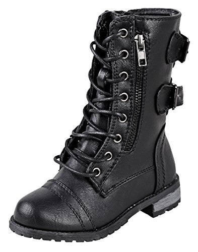 Forever Link Girls Mango 61K Lace Up Boots Combat Boots for Girls Zipper Boots Little Girl Shoes Black , 2 Little Kid