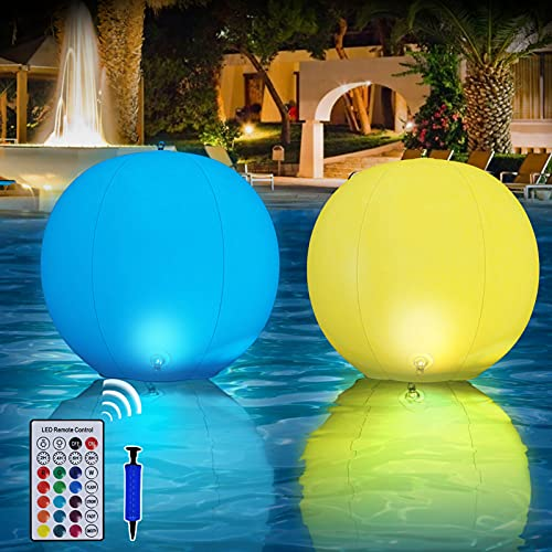 Floating Pool Lights, 12' LED Solar Inflatable Glow Globe Waterproof With Remote Timer/13 Colors Floating Ball Lamp, Outdoor LED Night Light, Party Decor for Swimming Pool, Beach, Lawn (2 PCS)